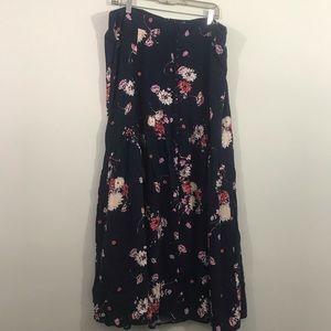 Torrid floral maxi skirt button front